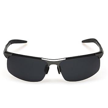 Minla Herren UV400 Schutz Polarisierte Sonnenbrille Schwarz Objektiv Sonnenbrille Aluminium Sport Reitbrille,Schwarz