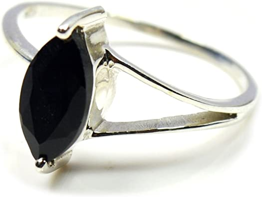 Gift For Father marquise black Onyx Gemstone 925 Solid Silver oxidized men Ring unique collection silver ring for women Gift For Sister