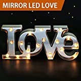 Bright Zeal 7'' Tall Large LED LOVE Marquee Sign Letters (MIRROR IMBEDDED, 6hr Timer) -Marquee Letters with Lights Wedding Decorations -Decorative Signs for Home LOVE Decor Signs Wedding Decor Lights B