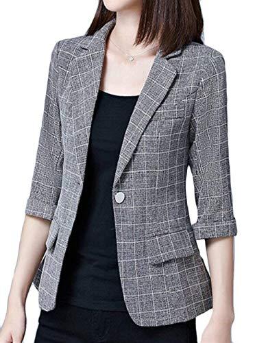 Autunno Cappotto Suit Button Formale Donna Tailleur Reticolo Bavero Leisure Confortevole Fit Lunga Manica Coat Giovane 2 Women Da Slim Giacca wXfqIyZpI