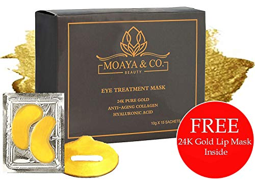 LUXURY 24K Gold Eye Mask + BONUS Gold Lip Mask- Anti-Aging with Collagen and Hyaluronic Acid, Under Eye Mask for Dark Circles and Puffiness,Brightens & Hydrates, 15 Pairs + BONUS Gold Lip Mask