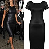 Hot!Faux Leather Dress,ZYooh Women Casual Bodycon Midi Sheath Sexy Skinny Short Sleeve Zipper Dress (black, L)