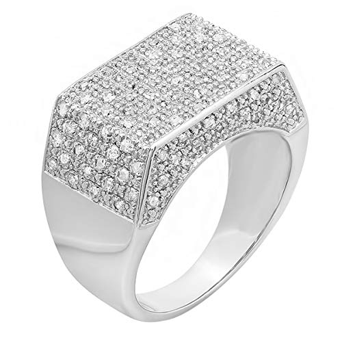 (Dazzlingrock Collection 0.50 CT Sterling Silver Fancy Design Round Diamond Men's Flashy Hip Hop Iced Pinky Ring, Size)