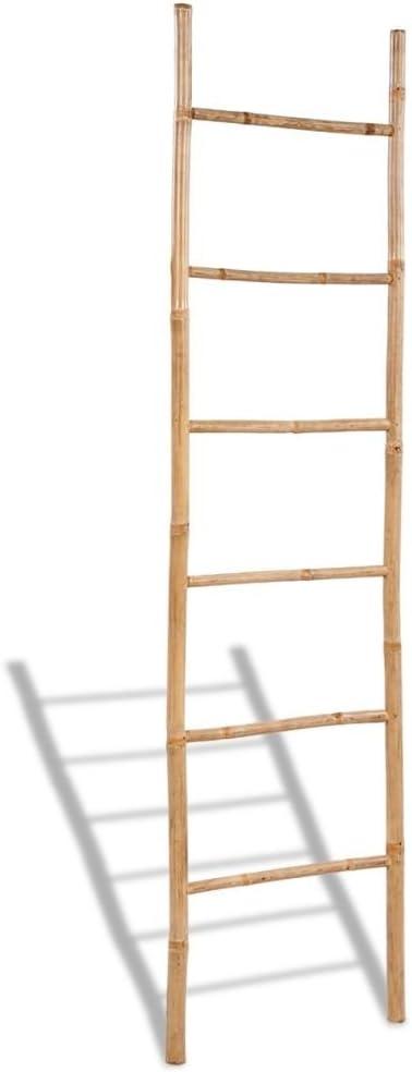 Toallero de bambú Design escalera de 6 peldaños 50 x 190 cm (L x H): Amazon.es: Hogar