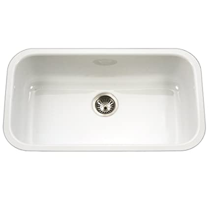 Attrayant Houzer PCG 3600 WH Porcela Series Porcelain Enamel Steel Undermount Single  Bowl Kitchen Sink,