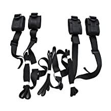 Naisidier Under the Bed Restraint with 4 Cuffs Restraints System Kit Medical Grade Velcro Adjustable Soft Wrist and Ankle Cuffs