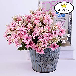 S.Ena, 5 Branch 15 Heads Artificial Silk Fake Flowers Leaf Fran Chrysanthemum Daisy Wedding Floral Home Decor Bouquet Birthday Party DIY, Pack of 4 (Pink) 40