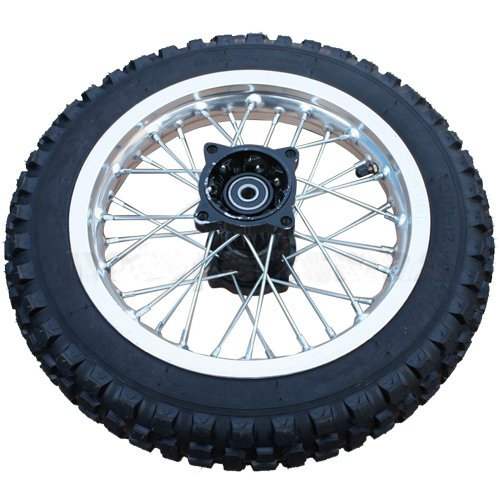 "Nice 12"" Rear Tire Wheel Assembly for 110cc 125 cc 150cc Dirt Bikes Pit Bike SSR Roketa Coolster"
