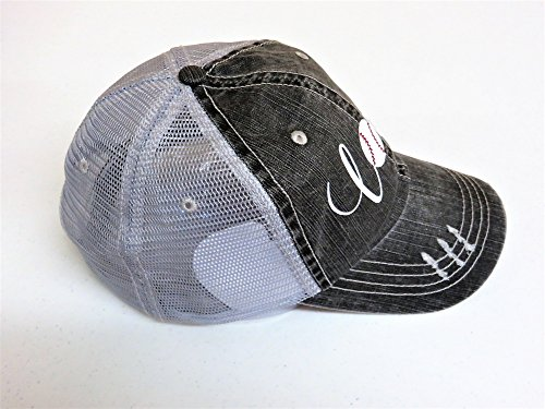 White Glitter Baseball Love Distressed Look Grey Trucker Cap Hat Sports by Spirit Caps (Image #1)