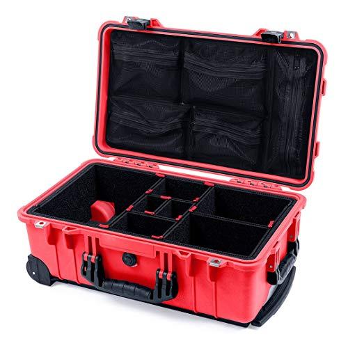 Red & Black Pelican 1510 case with TrekPak dividers & mesh lid Organizer.