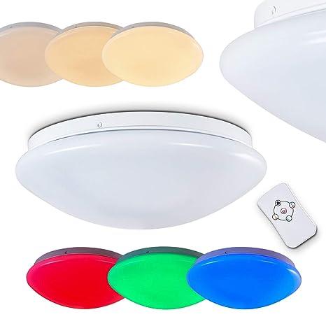 Lámpara de techo con efecto - LED Brighton cambiador de color RGB - redondo con mando a distancia - con LEDs incorporados- regulable - luz nocturna