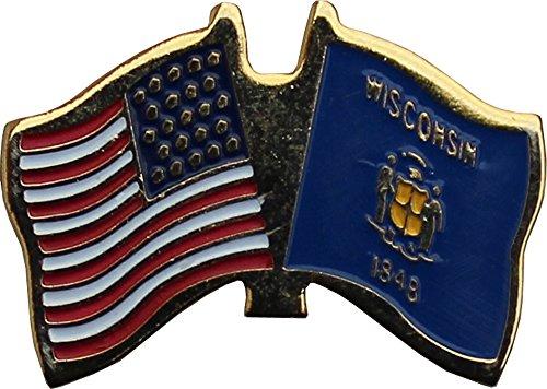 Flagline Wisconsin - 1/2 in x 7/8 in Friendship Lapel Pin ()
