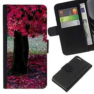All Phone Most Case / Oferta Especial Cáscara Funda de cuero Monedero Cubierta de proteccion Caso / Wallet Case for Apple Iphone 5C // Nature Pink Tree