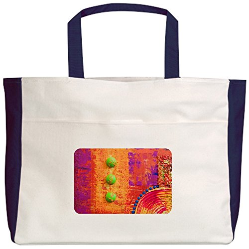 Royal Lion Beach Tote (2-Sided) Abstract Peace Symbol Sign - Navy