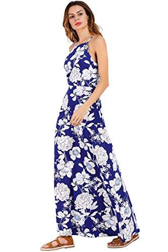 Ayliss Women s Halter Strap Maxi Dress Navy Blue with White Flower Elegant  Dress de0aeeb19d
