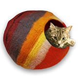 Walking Palm Felted Wool Cat Cave Bed (Western Sunset)