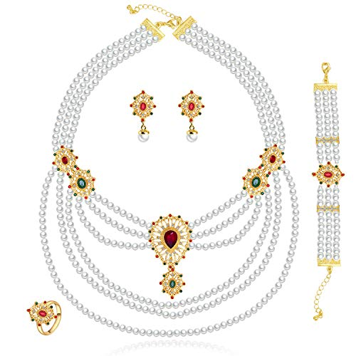 Moochi 18K Gold Plated Simulated Pearl Beads Red Oval Zircon Necklace Earrings Bracelet Jewelry Set ()
