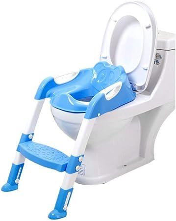 YICIX Reductor WC Baby Potty Seat Niños Que entrenan Seguridad Asiento de Inodoro con Escalera Plegable Infantil Potty Seat Orinal Respaldo Entrenamiento 1-7Y,Blue: Amazon.es: Hogar