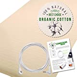 Armshield Earthing Grounding Half Sheet Bedding (Beige) 400TC Pure Silver Thread Conductive Earth Therapy Bedding Blanket, Natural Energy | 95% Organic Cotton for Better Sleep | Connection Cord