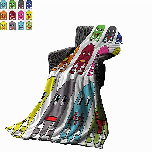 WinfreyDecor 90s Weave Pattern Extra Long Blanket 90s Vintage Video Games Style Cartoon Showing Vary Emotions with Stroke Art Print,Super Soft and Comfortable,Suitable for Sofas,Chairs,beds