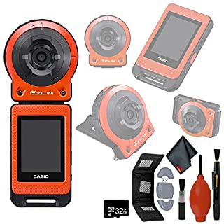 CASIO EX-FR10 EXILIM Digital Action Camera 14.1 MP - Orange - USB Reader + Wallet - 32GB microSD - Cleaning Kit