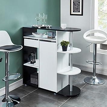 DAMIA Table bar 2 personnes style contemporain décor noir et blanc - l 100  x L 40 cm