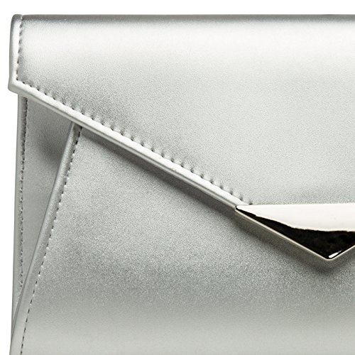 Metal TA363 CASPAR Elegant Chain and Evening Clutch Envelope Decor with Silver Bag Ladies 8qOdwqn6