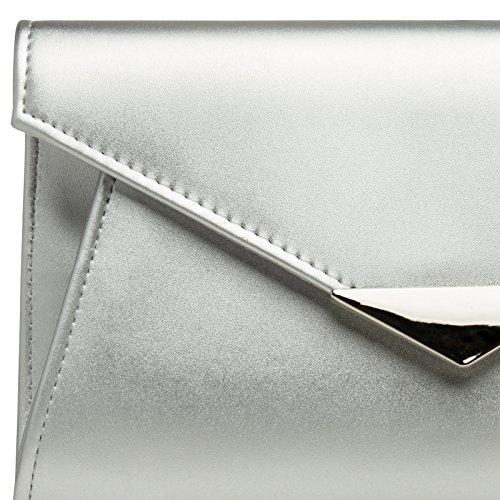 clutch Mujer Xl Ta363 Caspar Fiesta Bolso Para Plata Con Aplicación Metálica Elegante De Mano Szn5qnBW