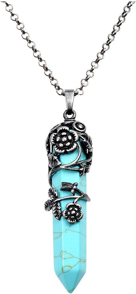 CrystalTears Fantaisie Collier Pendentif Hexagonale Naturelle Silver Ancien Lap-ups Fleurs pr Femmes Hommes Amoureux