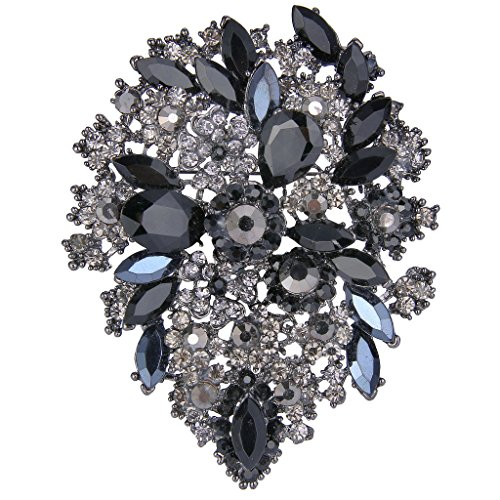 EVER FAITH Women's Austrian Crystal Vintage Style Flower Leaf Cluster Brooch Grey w/Black Black-Tone