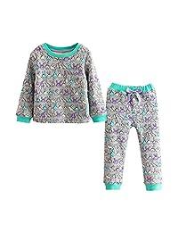 Little Girls Cartoon Pajamas Set Winter Thicken Sleepwear Christmas