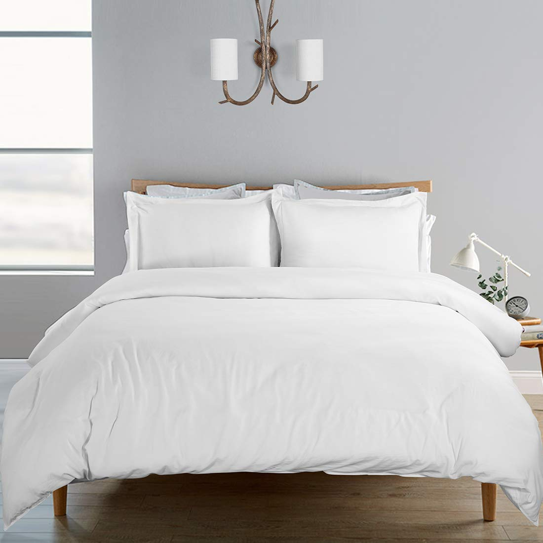 SORMAG 100% Washed Cotton Duvet Cover 3 Piece, Comforter Cover Queen Full Size, Solid Color and Ultra Soft with Zipper Closure, Corner Ties, Simple Bedding Style, White