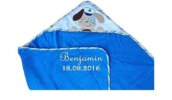 Máxima de bebé toalla con capucha con nombre bordado azul con perro 100 x 100 cm: Amazon.es: Bebé