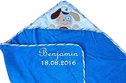 Máxima de bebé toalla con capucha con nombre bordado azul con perro 100 x 100 cm