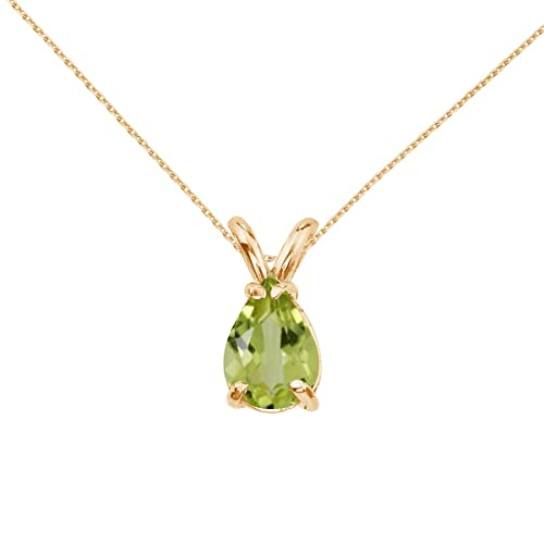 14k Yellow Gold Pear Shaped Peridot Pendant with 18 Chain