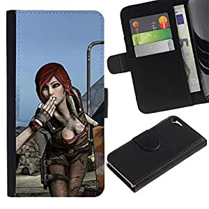 All Phone Most Case / Oferta Especial Cáscara Funda de cuero Monedero Cubierta de proteccion Caso / Wallet Case for Apple Iphone 5 / 5S // Hot Gaming Girl Character Lilith B0Rderlands