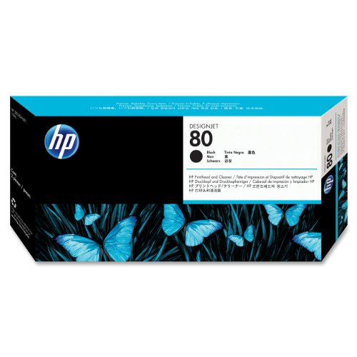 HP 80 Black and Cleaner DesignJet Original Ink Cartridge (C4820A) by HP