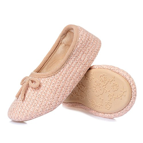 Peach Comfortable Indoor Warm bestfur Slippers Shoes Soft Pink Women's Knitted Cotton House Elastic gwx1AqPx