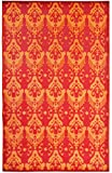 Lightweight Outdoor Reversible Durable Plastic Rug (6x9, Ikat Red/Orange)