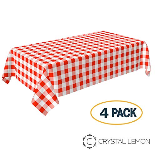 Cheap Red And White Checkered Tablecloths (Pack of 4, Picnic Tablecloth, Red and White Checkered Tablecloth, Plastic Tablecloth, Disposable Party Tablecloth, Plaid Tablecloth by Crystal)