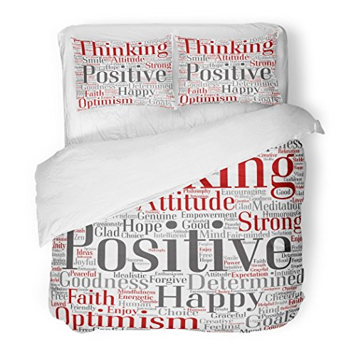 SanChic Duvet Cover Set Conceptual Positive Thinking Happy Strong Attitude Word Cloud Collage of Optimism Smile Faith Courageous Decorative Bedding Set with 2 Pillow Shams Full/Queen Size by SanChic