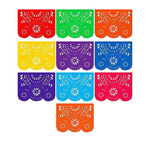 Fiesta Banner Plastic Papel Picado (3 Pack): 3 x 10 Large Multi-Colored Panels 16 feet Long for Mexican Themed Party Supplies for Festivals, Dia De Muertos, Coco Theme, Flower Decor by Mission Fiesta ()