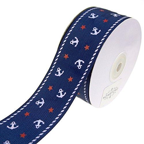 Grosgrain Ribbon Star (Homeford Nautical Anchor and Star Grosgrain Ribbon, 1-1/2-Inch, 25-Yard (Navy))