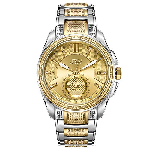 JBW Luxury Men's Prince J6371B 0.23 Karat Diamond Wrist Watch with Gold-Plated Stainless Steel Bracelet