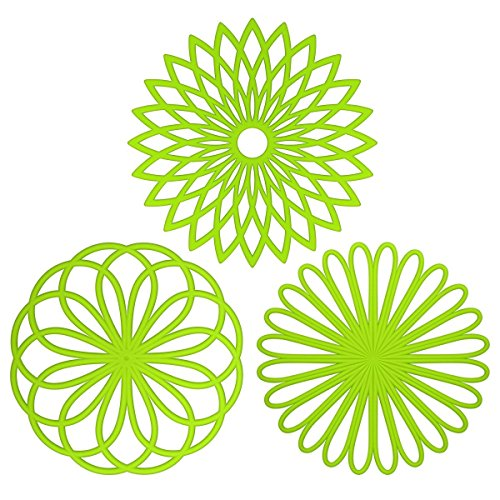 Green Insulated Pan - ME.FAN 3 Set Silicone Flower Trivet Mat - Premium Quality Insulated Flexible Durable Non Slip Coasters Hot Pads Glass Green