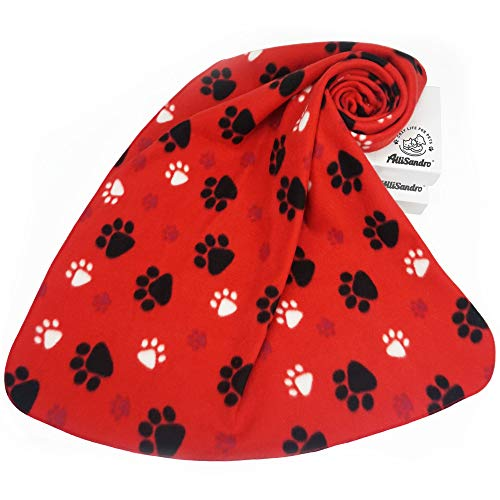 (Allisandro Super Soft and Fluffy Premium Dog Cat Fleece Blanket, Warm Sleep Mat Bed Cover with Paw Print, Cute Fleece Pet Blanket Throw for Puppy Dog Cat Small Animals (39x31, Red))