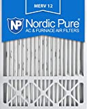 Nordic Pure 20x25x4/20x25x5 (19 5/8 x 19 7/8 x 4 3/8) Honeywell FC100A1037 Replacement Pleated AC Furnace Air Filters MERV 12, Box of 2