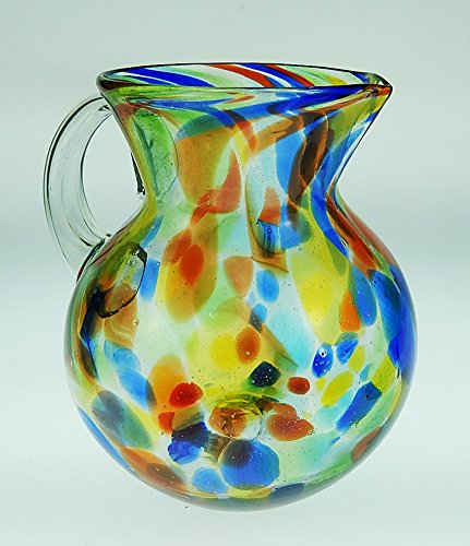 Mexican Glass Margarita or Juice Pitcher, Bola, Confetti ...