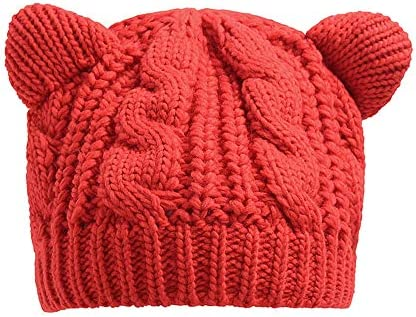 Winter Thick Knitted Wool Hat With Two Cat Ears Women/'s Beanie Warm/&Soft Cap New