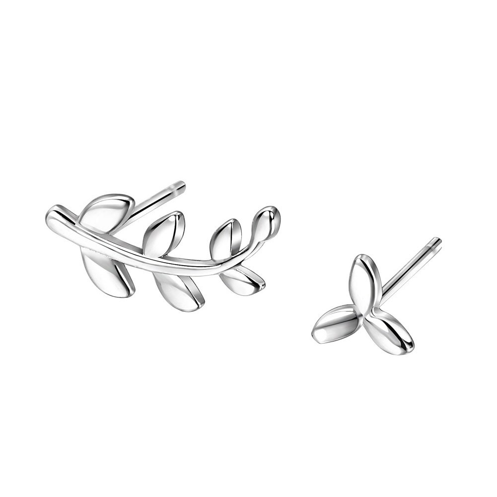 DolceArt 925 Sterling Silver Dissymmetrical Ear Climbers Leaf Crawlers Earrings Tiny Leaf Earrings Studs Jewelry Gifts for Women and Girls